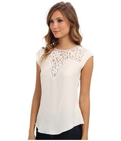 Rebecca Taylor Short Sleeve Lace Mix Top Chalk - Zappos.com Free Shipping BOTH Ways