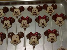 Mickey/Minnie mouse chocolate suckers