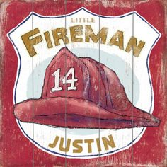 Little Fireman Vintage Wood Sign