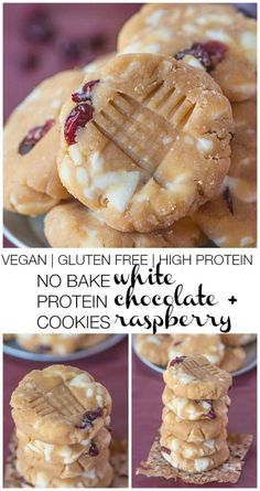 Healthy {Protein Packed!} NO BAKE white chocolate + Raspberry Cookies- 1 bowl + 10 minutes is all you'll need for this snack/dessert- Vegan, gluten free, dairy free and refined sugar free!