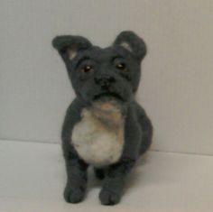 Needlefelted Blue Staffordshire Bull Terrier by JuliePavittRobinson on Etsy