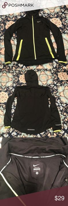NWOT Nike Windbreaker Small Brand new, without original tags attached, Nike light-weight reflective windbreaker in perfect condition. Size: small. Color: black & neon yellow. 100% authentic. Comes from a pet-free, smoke-free home. NO Ⓜ️!! NO 🅿️🅿️!! NO TRADES...DON'T EVEN ASK!! Open to offers but please use the offer button. I usually ship out my sold items within 24 hours of purchase. Nike Jackets & Coats