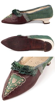 Low Italian heels pointed tow slippers, France, late 1780s-1790s (?), decorated with embroidery and a green silk plisse on the vamp. Sharp toe, italian heel, leather and flax lining. http://eng.shoe-icons.com/collection/object.htm?id=1575