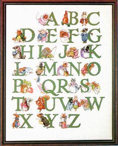 Beatrix Potter cross stitch sampler.