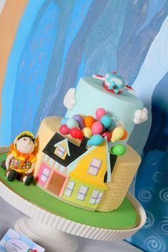Cute up cake! Disney's Up themed birthday party via Kara's Party Ideas KarasPartyIdeas.com Printables, cakes, invitation, cupcakes, desserts, and MORE!