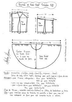 Esquema de modelagem de Vestido de Festa Godê curto tamanho 48.
