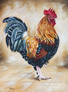 Garden Centers Rooster Painting - Garden Centers Rooster Fine Art Print