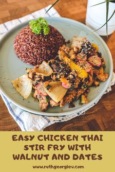 This recipe is amazing because it is so good on top of red rice or quinoa. #recipe #cooking #mealplan #lunch #food #asianfood #chicken #walnut #dates #easyrecipe Thai Stir Fry, Quinoa Recipe, Recipe Community, Chocolate Coffee, Your Recipe, Different Recipes, Asian Recipes, Dates, Meal Planning