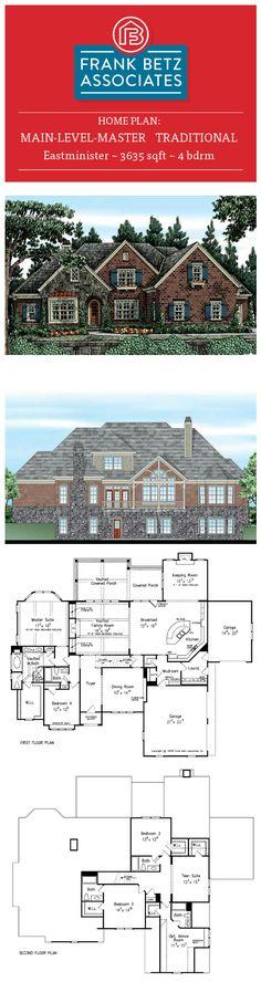 Eastminister: 3635 sqft, 4 bdrm, main-level-master, Traditional house plan design by Frank Betz Associates Inc.