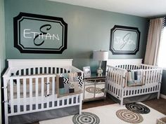 Baby Nursery Decor, Two Brothers Baby Boy Nursery Ideas Twin Design Modern Green White Crib