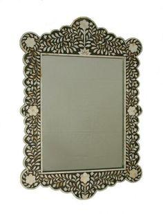Black mother of pearl mirror, Indian mirror , Moroccan Furniture, Indian Furniture, Mother Of Pearl Mirror, Black Mother, Decorative Mirrors, Front Entry, Black And White, Mirror Mirror, Mumbai