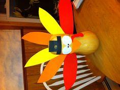 Turkey centerpiece- butternut squash, craft foam and glue gun!