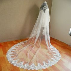 White Ivory 2016 Lace Edge Wedding Veil Single Layer Long Cathedral Length Lace Bridal Veil Wedding Accessories Veu De Noiva