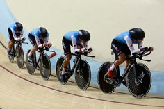 Canada's team compete in the women's team pursuit qualifying at the Rio Olympic…