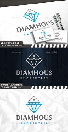 Diamond House Logo — Photoshop PSD #property #builder • Available here → https://graphicriver.net/item/diamond-house-logo/18369061?ref=pxcr