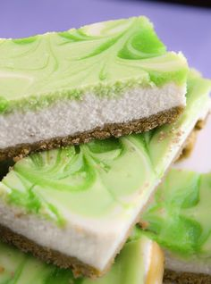Key lime swirl cheesecake bars. Pretty little dessert for St. Patrick's Day.