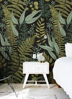Botanical wallpaper, ferns wallpaper, mural, green home decor, .- Botanical wallpaper ferns wallpaper mural green home decor Source by kuestenseele -
