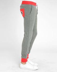 Pantalon de jogging gris et rouge Slim SWEET PANTS