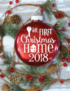 First Apartment gift - Cool Gift Ideas - Glass Christmas Ornament - Gift Ideas for Friends - Gift Idea for Sister - Cool Christmas Gifts This is a stunning Christmas Ornament fit to commemorate Christmas Gifts For Couples, Creative Christmas Gifts, Christmas Couple, Christmas Projects, Christmas Ideas, Glass Christmas Tree Ornaments, Personalized Christmas Ornaments, Christmas Bulbs, House Gifts