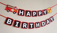 Fire Truck Birthday Banner for Firetruck Theme Party with Age and Custom Name Option by Feisty Farmers Wife by FeistyFarmersWife on Etsy https://www.etsy.com/listing/215011597/fire-truck-birthday-banner-for-firetruck
