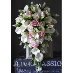 Bridal Bouquet - Tear Drop Wedding Bouquets - Pink Rose, Astilbe & Calla Lily - Pick Pink rose shades Cascading Wedding Bouquets, Bridal Flowers, Pink Wedding Theme, Wedding Colors, Blush Roses, Pink Roses, Pink Color Schemes, Astilbe, Calla Lily