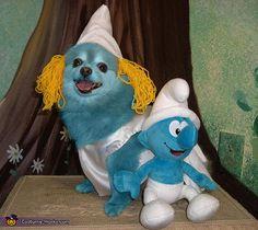 Dog Smurfette - Halloween Costume Contest via Smurf Costume, Animal Halloween Costumes, Homemade Halloween Costumes, Dog Halloween, Halloween Night, Halloween Ideas, Happy Halloween, Funny Costumes, Costumes