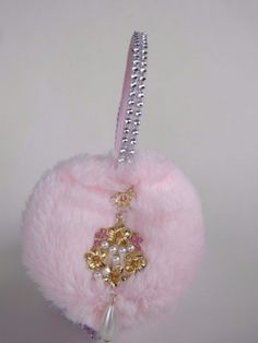 Scream Queens Pink Ear Muffs Hearts Earmuffs Earring Rhinestone Pearl Headband