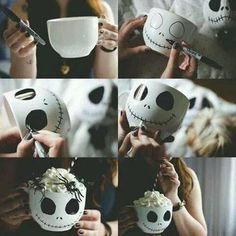Totally making these Nightmare before Christmas mugs for Halloween! Totally making these Nightmare before Christmas mugs for Halloween! Theme Halloween, Holidays Halloween, Fall Halloween, Halloween Crafts, Happy Halloween, Halloween Decorations, Halloween Cups, Fall Crafts, Holiday Crafts