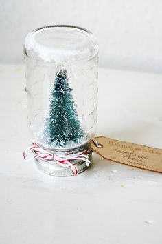Vintage Jar Bottle Brush Snow Globe