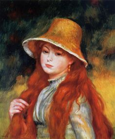 Young Girl in a Straw Hat -  Pierre Auguste Renoir - circa 1884