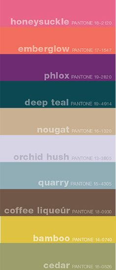Fall 2011 Pantone Color Trends. These were announced a couple months ago, but they're still a great guideline for new designs if you sell your work!