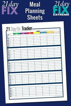Free printable 21 Day Fix meal planning sheets by kcalhoun69