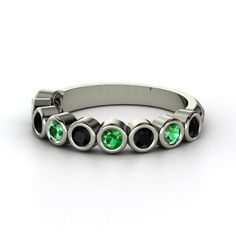 14K White Gold Ring with Black Onyx & Emerald  - Footlights Band | Gemvara