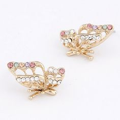 3.39$  Watch now - http://disjq.justgood.pw/go.php?t=179878801 - Pair of Butterfly Rhinestone Earrings 3.39$