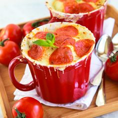 Pizza Soup! If you've ever craved French Onion Soup, then you're going to ADORE this fun soup which takes all the flavors of pizza, melts a hunk of mozzarella up top, and serves up all sorts of goodness in a single bowl.