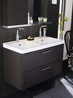 Top 17 Luxurious IKEA Bathroom Designs 2012 : Elegant Black Themed IKEA Bathroom Design with Dark Wood Bathroom Vanity and Storage Box