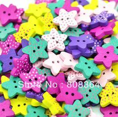 Aliexpress.com : Buy Free Shipping 100 Pcs Random Mixed 2 Holes Star Dot Wood Sewing Buttons Scrapbooking 17mm(W02549 X 1) from Reliable but...
