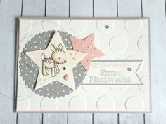 Babykarte in Flüsterweiß, Kirschblüte und Schiefergrau mit dem Stempelset 'Zum Nachwuchs' Stampin' Up!