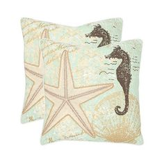 Safavieh 2 Pack Coastal Sea Shells Throw Pillow - Multi-Colored,... ($67) ❤ liked on Polyvore featuring home, home decor, throw pillows, pillow, seafoam, coastal throw pillows, colorful home decor, sea home decor, coastal themed throw pillows and seashell home decor