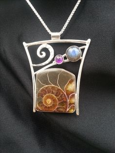 Michael Kenney Jewelry, Fossil Ammonite with Labradorite
