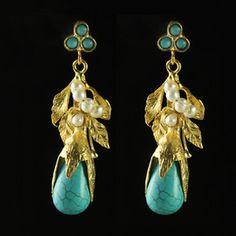 Leaf Earrings Turquoise