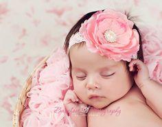 baby headband, newborn headband, pink flower headband, infant headband, toddler, photography prop. $12.95, via Etsy.
