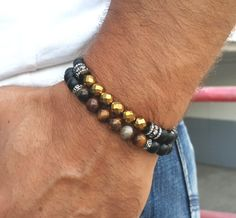 Men Bracelet, Men's Bracelet, Brown Tiger Eye, Black Onyx, Healing Energy Protection Mala Yoga Jewelry, Mens Mala Beads