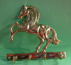WESTERN RODEO HORSE JUMPING SOLID BRASS WALL KEY RACK