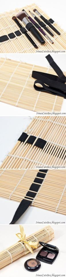 DIY Sushi Mat Brush Organizer - would be great for paint brushes or crochet hooks/knitting needles! Diy Makeup Organizer, Makeup Organization, Makeup Storage, Makeup Holder, Storage Organization, Necklace Organization, Beauty Organizer, Lipstick Organizer, Makeup Drawer