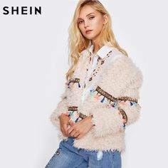 SHEIN Embroidery Tape and Tassel Detail Open Front Warm Coat Autumn Winter Coat Women Pink Collarless Elegant Coat women's fashion - Sami's Southern Style