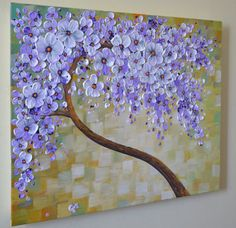 Original Contemporary Abstract landscape beautiful lavender blooming tree on 18 x 24 x 1.5 unusual design Float canvas. Float Canvas is an innovative stretched canvas product that features a unique design with steeply angled stretcher bars that enhances the art with a dramatic floating effect when hung on the wall. Just paint and float your art, no need for framing. Edges are painted in black. Wired and ready to hang. Final coat of varnish has been applied for protection  This artwork brings…