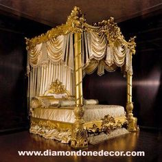 Baroque Luxury gold leaf Rococo French reproduction Louis XV Mahogany King Size bed for master bedroom. Not a fan of the pillars on this one. Victorian Bedroom, Victorian Furniture, French Furniture, Fine Furniture, Luxury Furniture, Vintage Furniture, Rustic Furniture, Outdoor Furniture, Bedroom Furniture