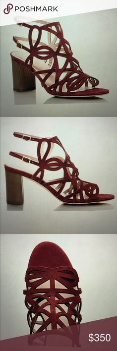 """NWB Kate Spade ♠️ maroon Estrella Heels Sz 7 New with box sold out Kate Spade Estrella heels in chestnut red (maroon). Features looping Suede straps in an almost Lace-like design as well as a solid stacked heel, the Estrella heels are both pretty and practical. Made of kid Suede with covered heel. Features 2.75"""" heel, open toe double buckle sandal, and buckle closure. Size 7. No trade. Thanks for looking! kate spade Shoes Heels"""