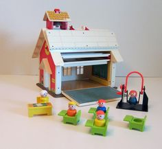 "Fisher Price Vintage Toys 1970 | Fisher Price School House with people toy vintage 1970 toy vintage toys | Paint this picture for new ""Vintage Toys"" Series"